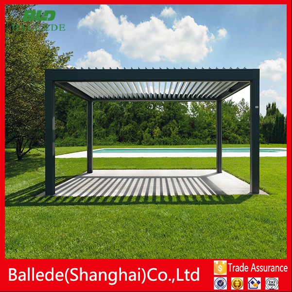 Aluminum motorized pergola patio cover louver roof waterproof