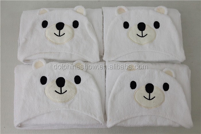 Custom white teddy bear 100% bamboo baby hooded towel fashion cute kids cotton terry cloth fabric baby towel with hood