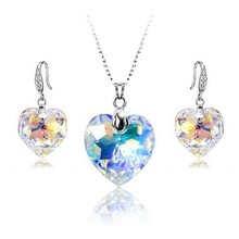 925 Sterling Silver necklace and earrings jewelry set for bride heart necklace