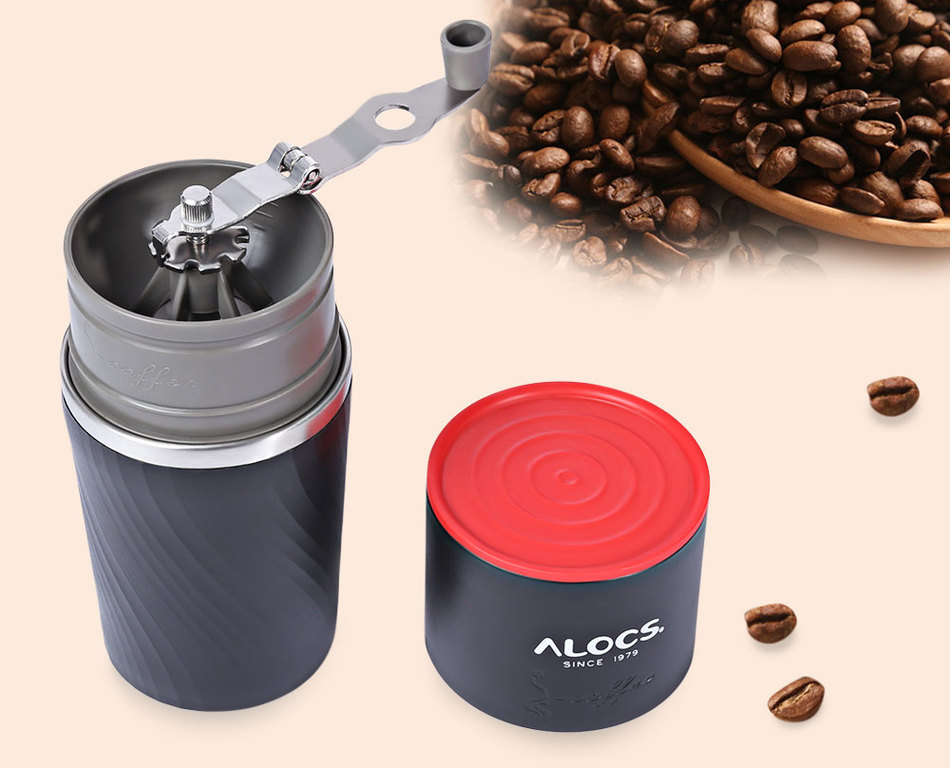 ALOCS CW-<strong>K16</strong> Outdoor Tableware Portable Coffee Maker 4 in 1 Stainless Steel Camping Manual Easy Coffee Grinder Camping Tableware