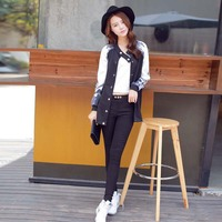 WA9118 Autumn fashion baseball uniform long cardigan coat women's