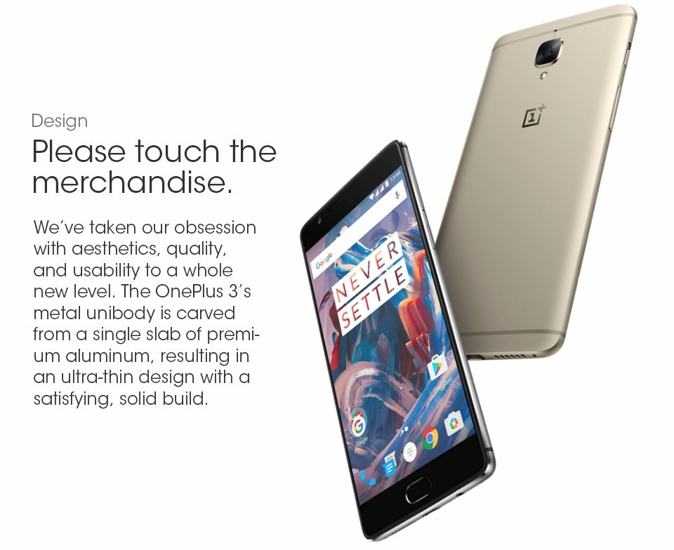 2016 New Arrival Oneplus 3 6GB RAM 64GB ROM MSM8996 Qualcomm Snapdragon 820 Octa core 16.0MP Mobile phone