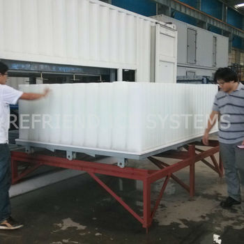 18T Big Capacity 40FT Container Direct Cooling Block Ice Plant With 50KG Block
