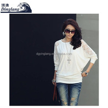 Fashion women's clothing joker bat sleeve lace stitching long sleeve knitted T-shirt women T shirt