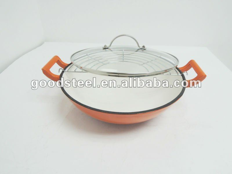 Full Color Enamel Coating Cast Iron Wok With Glass Lid