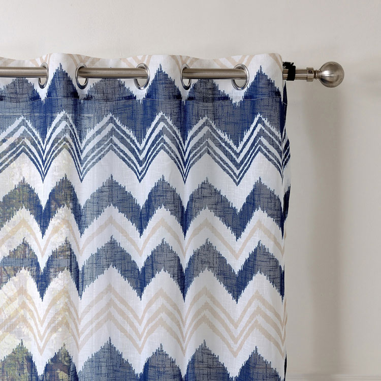 Printed Striped Linen Curtains Blue Window Curtain