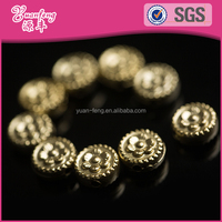 Golden beautiful flower design acrylic flat round beads for garment