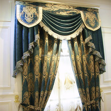 Luxury Embroidery Window Curtains/ Made in China Luxury Embroidered Hotel Curtains and Drapes with Backing Valance