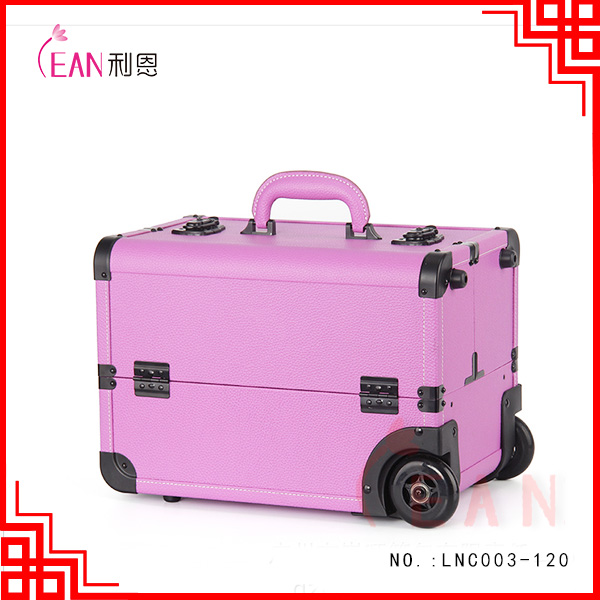 2017 hot sale pro oem logo colorful 6 trays PU aluminum nail art cosmetic trolley case in stock