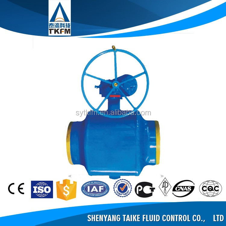 TKFM Worm Gear operated type flange ends trunnion mounted ptfe soft seal ball valve