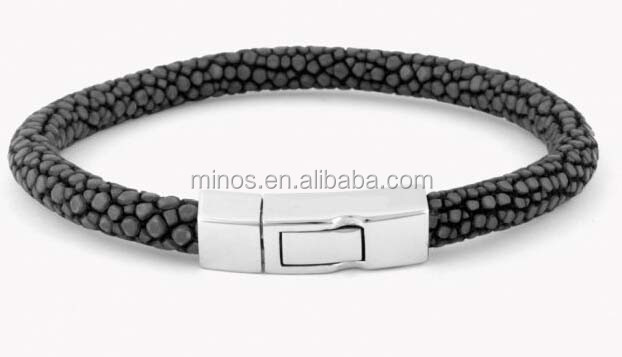 Luxury Stingray Bracelet With Metal Clasp, Galuchat Bracelet In Grey Stingray Skin With Silver Clasp