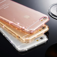 for iphone 7 Case Clear Rhinestone Soft TPU Transparent Silicone for iphone 7 plus Cover
