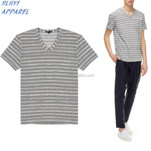 Grey Striped mens V-Neck T-Shirt Custom printed wholesale men short sleeve tee Guangzhou Manufacturer wholesale graphic t-shirts