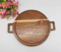 Small size acacia wood rounded cutting board for cheese/ bread/vegetable with two handles