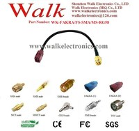 FAKRA SMA RG58 cable/FAKRA female cable/SMA male RG58 cable: FAKRA female straight to SMA male straight with RG58 cable