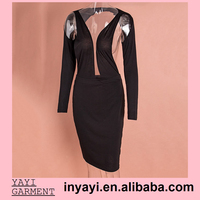 New 2015 Fashion Ladies Deep V Neck Sexy Dresses Bodycon Long Sleeve Party Bandage Dress Club Elegant Spring Dress