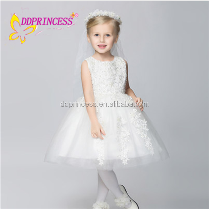 china new design white cotton western gowns party full princess dresses for kids