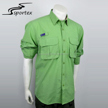 Latest design fashion custom fishing clothes green trekking outdoor casual shirt men for wholesale