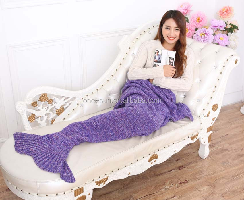 yarn knitted mermaid tail blanket handmade crochet mermaid blanket adult kids throw bed wrap super soft