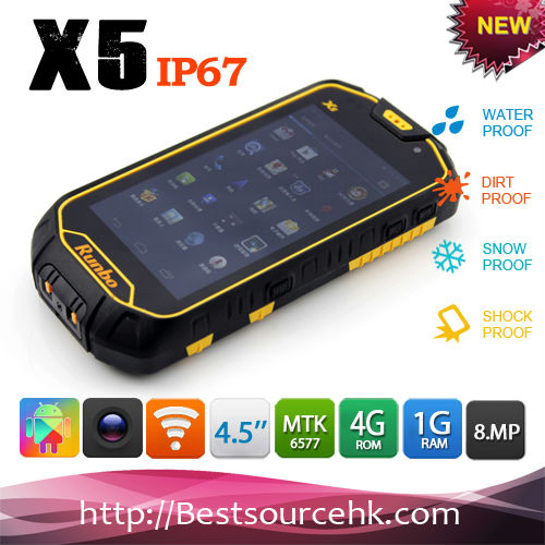 4.5 Inch IPS Touch Screen bluetooth ptt ip67 rugged dual sim android IP67 rugged dual sim runbo X5 rugged phone
