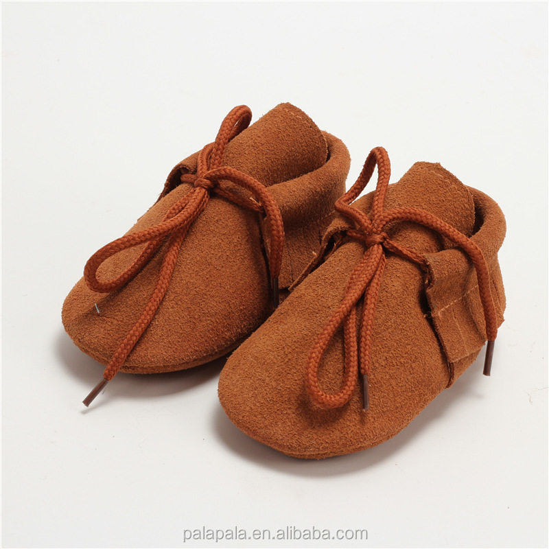 wholesale brown cow leather kids moccs lace up baby shoes sneakers