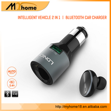 Newest model bluetooth car charger usb 4.1 Earphone Headset Auto Adapter with Heads-Free Headphone OEM/ODM