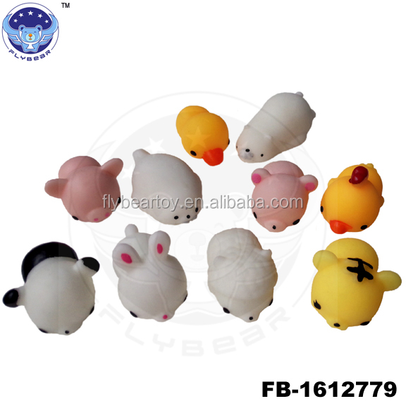 2017 New mini TPR cute animal sticky toys for kid soft animal promotion toys