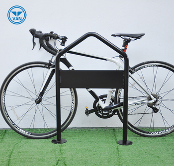Steel bicycle stand with advertising board