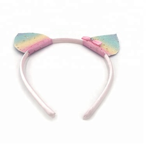 Hot Sell Wholesale Cat Ears Rainbow Glitter Girl Hair Band Hoop