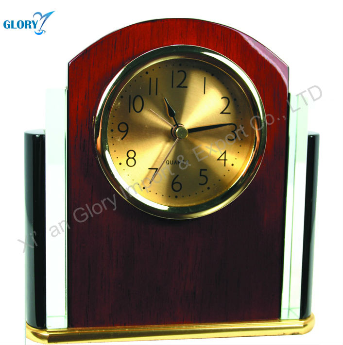 Red Painted Clock Gifts Tableware Natural Wooden Clock