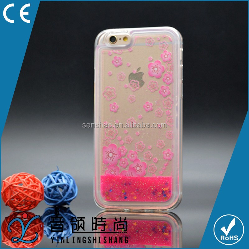 hot selling wholesale 2016 new design 3D liquid cover Crystal Quicksand flower Hard Case for iphone low MOQ accept ODM/OEM