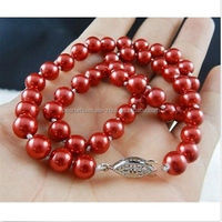 wholesale treated color red pearl necklace