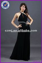 Spring 2012 new arrival 100% polyester halter design girls gown