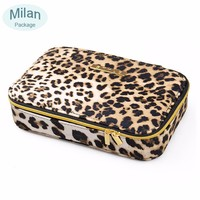 Handmade leopard PVC professional beauty box makeup vanity case