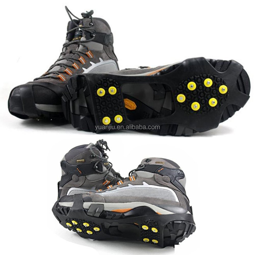 A Pair of New Enhanced Version Cool Slip-on Over Shoe Studded Anti Slip Ice Spikes Ice Shoes Grippers Cleats Ice Traction Snow T