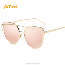 Fashion Mirror Pink Ventage Rose Gold Unique Flat Cat eye Sunglasses 2017 Oculos De Sol Women Sun glasses UV400