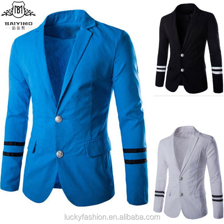 Autumn Winter Cheap Mens Casual Fashion Customized Linen Suit Jacket with Striped Sleeve