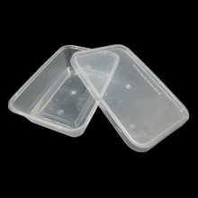 500ml Disposable rectangle clear plastic takeaway microwave fast food container with lid