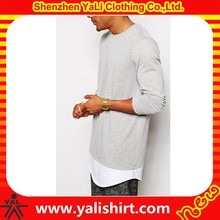 Good quality breathable 100%cotton long sleeve rounded hem extended t shirt blank for men