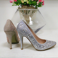 China wholesale rhinestone gold silver crystal bridal wedding shoes