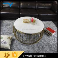 Scandinavian furniture round coffee table marble aluminium coffee table CJ004