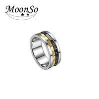 Wholesale! Rotatable! Titanium 316L stainless steel Latest gold finger ring designs without stones for men KR095 MOONSO