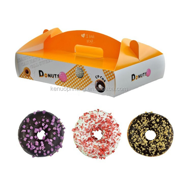 Customized Paper Donut Packaging Box Colorful Handle Gift Box For Donuts Packing