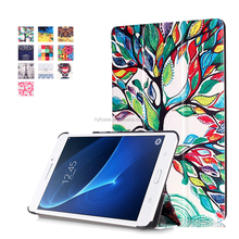 Wholesale Luxury three Fold color painting Leather Flip Tablet Cover Case for Samsung TAB T280/T285