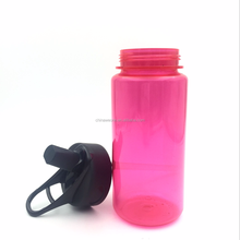 Yoga Water Bottle with Flip Straw/Eco friendly wide mouth drink sports bottle Matte Red rose color with Black lid