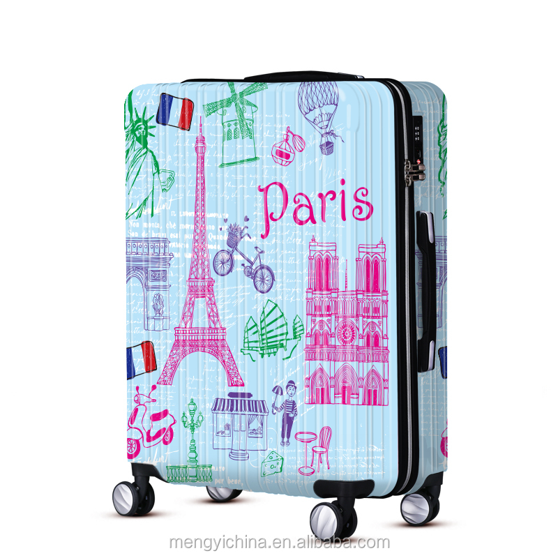 WAO romantic stylish Eiffel Tower print ABS PC suitcase set for business travelling