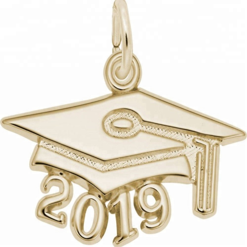 Wholesale silver or gold plated polished 2019 year graduated trencher cap pendant 2019 figure <strong>charm</strong>