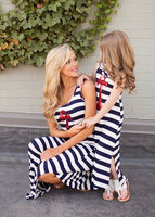 2015 ChildrenLatest fashion dress designs striped maxi dress mommy and me maxi dress