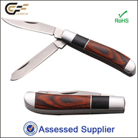 Two Blade Multifunction Wooden Handle Folding Pocket Knife