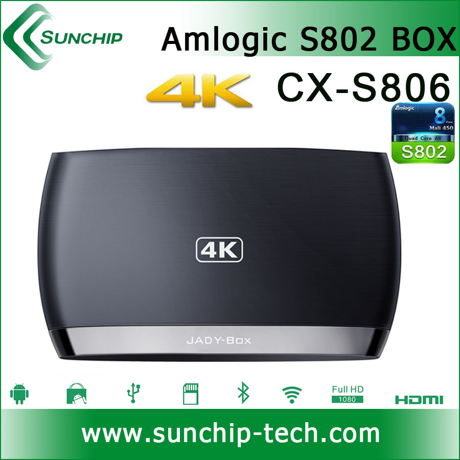 CX-S806 4K HD media player Factory Price!!! android tv box Amlogic S802 quad core with XBMC Installed WIFI Miracast 3D